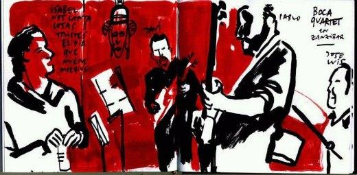 afiche sobre session de jazz con musicos tocando